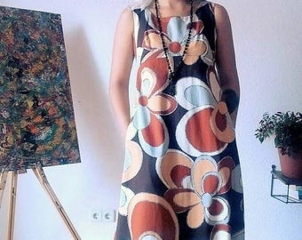 ON SALE Amazing 1970s Royal Hawaiian  Sleeveless Long Dress S