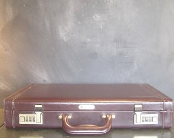 Vintage Brown Samsonite Hardshell Briefcase Combination Lock