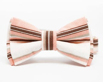 Soft Coral and Brown Stripe Patterned Bow Tie for all ages - Pre-tied bowtie - ring bearer, wedding day, photo prop, church
