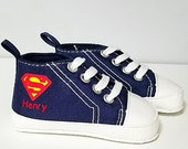 Superman Baby Shoes, Boys Sneakers, Navy Blue Red, Infant Sizes, 3-18 Months, Personalized Name, Baby Shower Gift