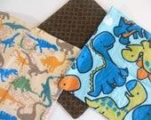 Cloth Wipes, Washcloths, Burp Cloths, Handkerchiefs Set of 12 in Dinosaur Prints