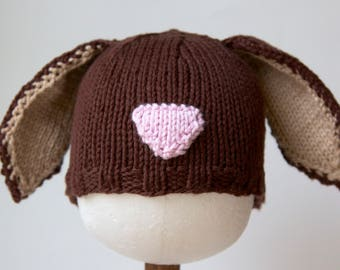 Brown Bunny Knitted Baby Hat, Infant Toddler Child sizes, Easter, handmade knitting