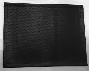 """vinyl, Perforated black, Placemat Texture Hemmed Edges  14""""x 14"""" set of 6 square Table linens"""