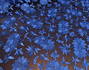 "Royal Blue Floral Embroidery Patchwork Applique Lace Fabric on Mesh Perfect for Wedding Dress, Prom, Accessories, Denim, Jeans, 50"" Wide"