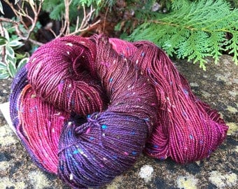 """100grms hand painted fingering weight yarn Merino /Donegal  nep """"anenome)"""