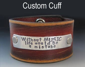 Men's Custom Leather Wide Cuff Bracelet /  Personalized / Father's Day Gifts / Hand Stamped / Gifts for Him / Gifts for Dad / Anniversary