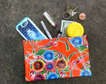 """Orange Retro Floral Oilcloth Bag, for cosmetics, essentials, jewelry. Regular size, 10.5"""" by 6.25"""""""
