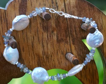Freshwater Coin Pearl with Labradorite, Blue Topaz and Iolite Bracelet