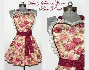 Twirly Skirt Apron, Rose Floral Retro Circle Skirt Apron with sweetheart neckline, flirty pin up apron, Diner Apron, LAST ONE Ready to Ship