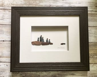 Pebble Art family of four with a dog 8 by 10 PebbleArt by Sharon Nowlan choice of framed or unframed