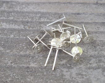 4 pairs Sterling Silver Earring Posts with 6mm Flat Pads