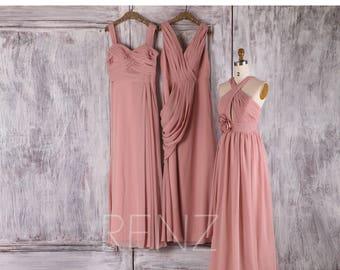Dusty Rose Chiffon Mix Match Bridesmaid Dress,Ruched Bodice Wedding Dress,Long Prom Dress,Evening Gown Floor Length(F108/F107/L035)