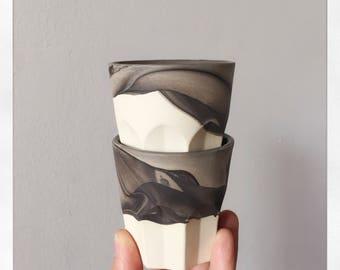 2 Whiskey/ Espresso cups. Handmade 3 oz Glasses. Marbled Black and White Porcelain. Handmade Pottery. Modern Barware