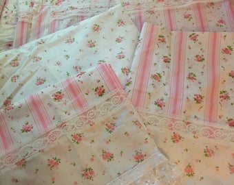 VINTAGE sheets set, shabby pink FULL fitted and flat sheets and 2 pillowcases