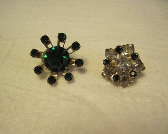 2 Vintage Scatter Pins Brooches Emerald Green and Clear Rhinestone Pins