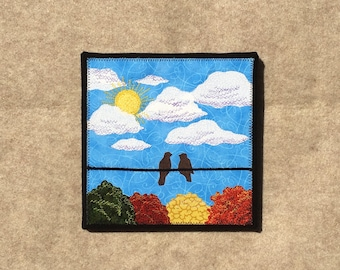 Fall in Love, 8x8 inches, original sewn fabric artwork, handmade, freehand appliqué, ready to hang canvas