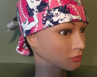 Ponytail scrub cap with wonder woman