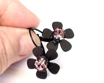 Matte Black Lever back Flower Earrings with Pink Swarovski Crystal Centers Handset Stones High Quality