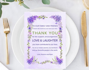 Bride and Groom Table Thank You Cards - Lavender Dreams/Purples and Vines/Reception Thank You (Style 13670)