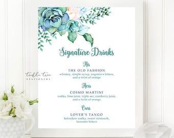 Printable Signature Drinks Sign - Mint & Teal Garden