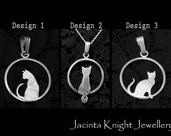 Argentium sterling silver cat pendant