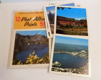 "CRATER LAKE National Park, Oregon Souvenir ""Photo Album Prints"" Set of 12 COMPLETE Color Pak Vintage 1960's Pictures - Wizard Island, Lodge"