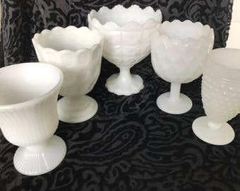 Vintage Milk Glass Compotes - Instant Collection - Set of 5 - Wedding Decor Centerpiece - Milk Glass Vases