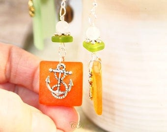 Recycled Sea Glass Earrings Orange and Green Dangle Pierced or Clip-on Earrings Beach Jewelry Sea Glass Jewelry Anchor Charm Earrings