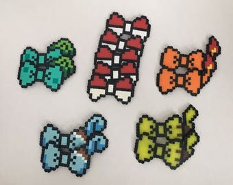 8-bit Pokemon Theme Party Pack Headband, Barrette, Pins Pokeball, Pikachu, Charmander Bulbasaur, Squirtle Character Pixel Art