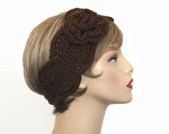 Brown Crochet Headband with Flower Knit  Ear warmer Brown Head band Brown Headwrap Dark Brown earwarmer Brown crochet ear warmer with flower