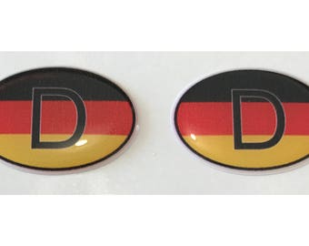 "Germany D Domed Gel (2x) Stickers 0.8"" x 1.2"" for Laptop Tablet Book Fridge Guitar Motorcycle Helmet ToolBox Door PC Smartphone"