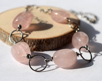 Rose Quartz Necklace, Soft Pink Stone Necklace, Sterling Silver Wire Wrapped Necklace, October Birthstone Silver Circle Link Nugget Necklace