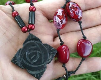 Red and Black Knotted Necklace, Black Roses, Boho,  Resin and Stone, Organic, Gothic