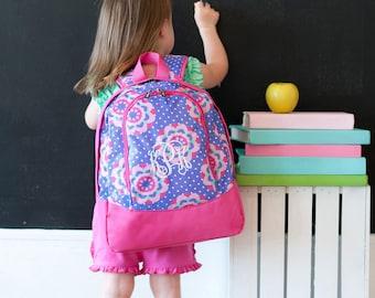 Personalized Preschool Backpack - Monogrammed Preschool Backpack - Zoey Flowers Preschool Backpack ~ Quick Ship