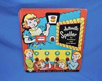 Vtg 1950s Automatic Speller Learning Toy Spelling Educational Letter Knobs Words Preschool Mastercraft