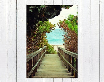 Coastal Beach House Wall Art Decor | Beach Photography | Hidden Walkway to Beach, Turquoise Sea | Beach Themed Wall Art | Ocean Photography