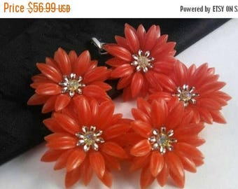 On Sale Coro Red Flower Bracelet - Designer Signed Mid Century Jewelry - 1950's 1960's Rhinestone Accessories - Old Hollywood Glam