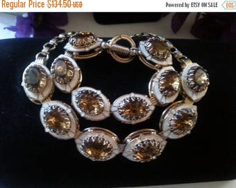 Now On Sale Vintage Amber Rhinestone Demi Parure, Necklace Bracelet Set, Retro Chunky Wide Jewelry, Old Hollywood Glamour