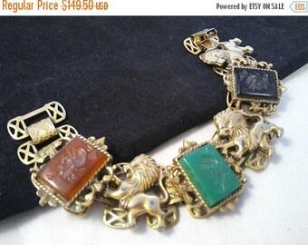 ON SALE Vintage Lion Roman Soldier Intaglio Heraldic Bracelet 1960's  Mid Century Collectible Vintage Coat Of Arms Style Costume Jewelry