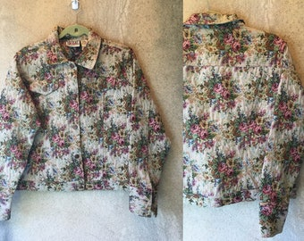 BILL BLASS Floral Textured Grunge 90's Shabby Chic Jacket Large