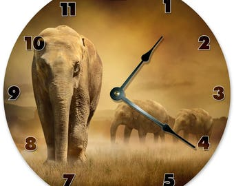 "10.5"" HERD OF ELEPHANTS Clock - Living Room Clock - Large 10.5"" Wall Clock - Home Décor Clock - 5868"