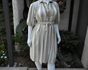 Vintage 1970's Anjac Fashions Cream & Beige Striped Dress - 16/18