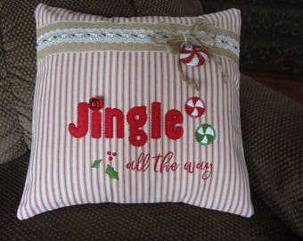 Christmas Throw Pillow Cover Jingle All The Way Throw Pillow 16 By 16 Size Pillow  Candy Throw Pillow Grannies Embroidery