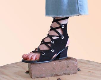 70s Black Lace-up Sandals Block Heel Vintage Shoes OMG VTG Groovy Baby
