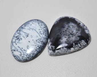 Top Quality !!!~ 100% Natural Dendrite Opal Cabochons, Flat Back Dendrite Opal Cabochons, Good Quality Dendrite Opal Cabochons 11.8 gram