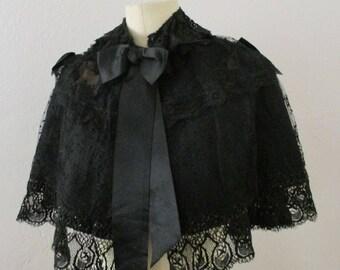Victorian Black Lace Beaded Cape Silk