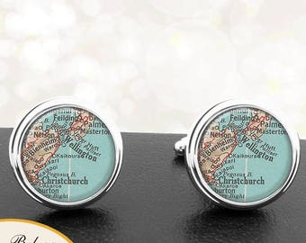 Map Cufflinks Wellington New Zealand Cuff Links for Groomsmen Groom Fiance Anniversary Wedding Party Fathers Dads Men