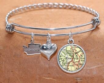 Everett WA Map Charm Bracelet State of Washington Bangle Cuff Bracelet Vintage Map Jewelry Stainless Steel Bracelet