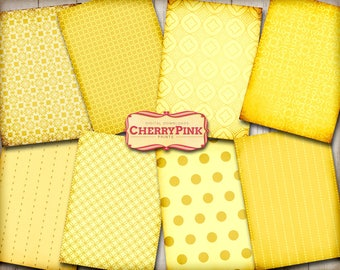 Yellow Collage Sheet, Shabby journal kit, Textured edge, page set, geometric pattern, Instant Download