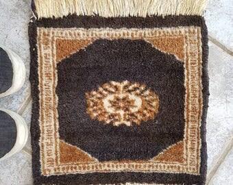 Vintage Mini Boho Rug, Table Rug, Turkish mini rug, Persian Rug handwoven 1084